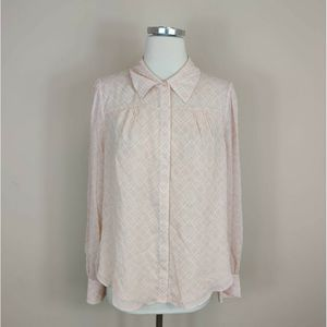 Joie Silk Long Sleeve Blouse Pink White